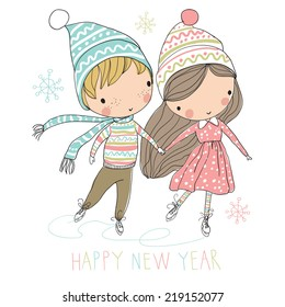 Two cute kids at ice skating. Christmas card.