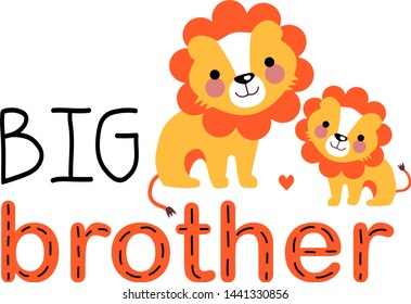 Two cute lion cubs are smiling each other. Big brother gives his love to the little one. Big brother design for t-shirt, greeting card, poster, etc. Small brother and big brother.
