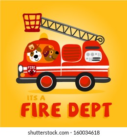 two cute little animals in a firetruck. Vector illustration for kids and babies