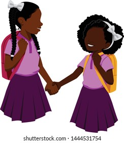 Two cute little black girls go back to school holding hands.