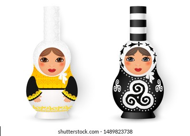 Two cute matryoshka (russian traditional dolls) in breton bigouden style, vector illustration isolated on white background