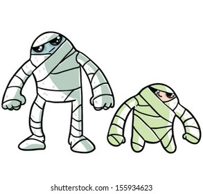 Two cute Mummies - Vector clip art illustration on white background