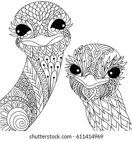Two cute ostrich smiling zendoodle stylize for t shirt design and adult coloring book page. Stock Vector