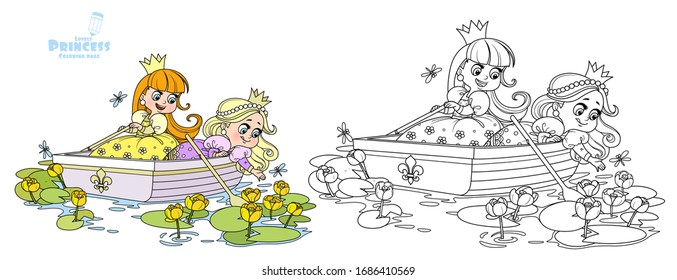 Two cute princesses are floating in a boat and tearing yellow water lilies outlined and color for coloring book