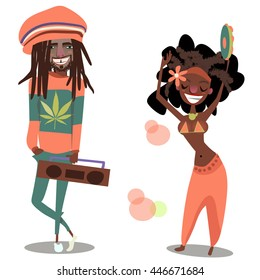 two cute reggae cartoon men and woman