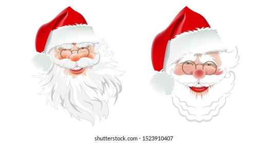 Two cute Santa Claus on a white background for Christmas design. Great for Christmas cards, invitations, New Year banners for the holidays. Vector illustration