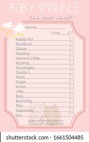 Two cute sleeping owls, Cloud and Stars Baby Shower She said what Layout Template, Do it Yourself Game with Woodland Animal theme for girl, Pink Color Unisex mommy to be activity card
