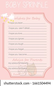Two cute sleeping owls, Cloud and Stars Baby Shower Wish and Advice Layout Template, Do it Yourself  Game with Woodland Animal theme girl, Pink color parents activity card