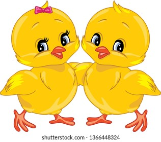 Two cute smiling chicks. Vector