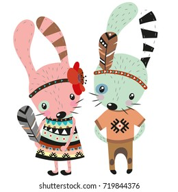 Two Cute tribal Rabbits on a white background