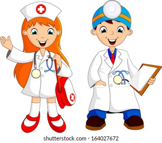 two cute young doctor