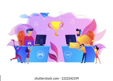 Two cyber sport players at computers competing for a trophy and fans cheering with flags. E-sport fans, computer game fan, e-sport fan club concept. Bright vibrant violet vector isolated illustration