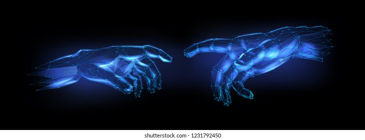 Two cybernetic 3D hands touch fingers in virtual reality. Two neon hands Low-poly style connect. Anthropomorphic futuristic hands point out one finger (illustration in polygonal style).