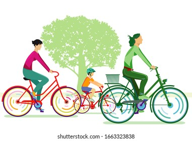 two cyclists with children - vector illustration