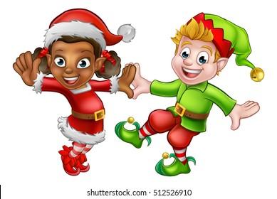 Two dancing cartoon Christmas elves Santas little helpers