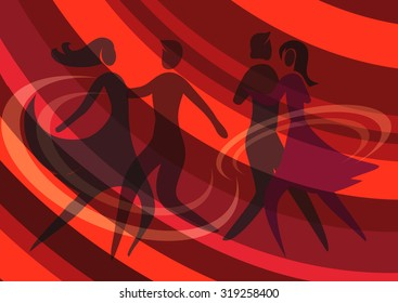 Two dancing couples. Illustration of Two Young couple dancing ballroom dance on the red abstract background. Vector available.