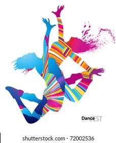 Two dancing girls with colorful spots and splashes on white background. Vector illustration.