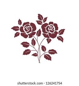 two dark  roses on white