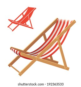 Two deck chair vector illustrations: realistic and silhouette
