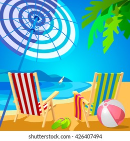 Two deckchairs on a tropical beach. Slippers and ball. Poster in the Art Deco