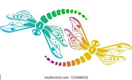 Two decorative dragonflies