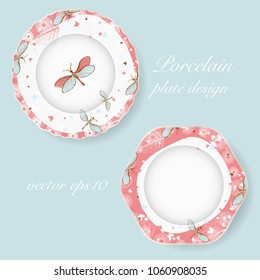 Two decorative elegant porcelain plates with floral elements and dragonfly. Vector illustration