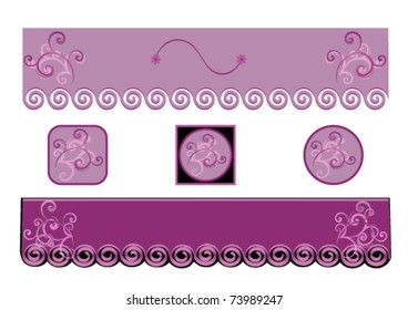 Two  Decorative Purple  Banner  or Website Headliner and Buttons eps 10 with gradient.