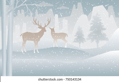 Two Deer in forest with snow in the winter ,concept Merry Christmas