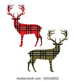 Two deer on tartan. Vector illustration.