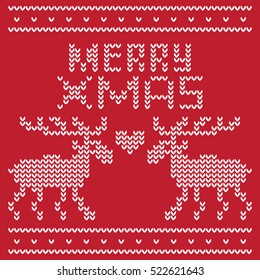 Two deer and the words Merry Christmas as if knitted on a warm sweater. Also knitted between deer heart. With Love at Christmas.