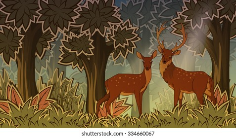 Two deers in forest cartoon style vector illustration