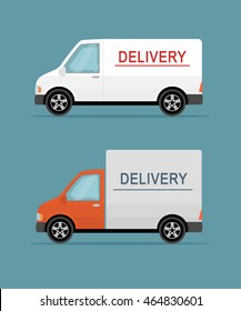 Two delivery vans isolated on blue background. Flat style vector illustration.