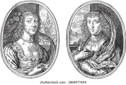 Two depictions on an album page. Portraits of two unknown women with a shepherd's staff, such as Museherina N.A. and Cedobeka N.G., vintage engraving.