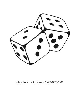 Two Dice Cubes on White Background. Vector icon Illustration
