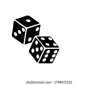 Two dice to gamble or gambling in craps flat vector icon for casino apps and websites white background illustration