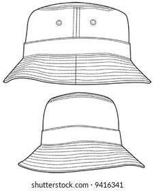 3bc43963a85 Two different angles of a bucket hat illustration. Great for fashion design  and illustration.