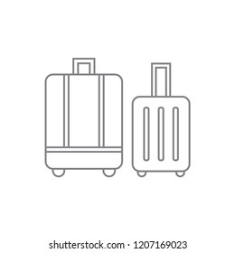 Two different baggages / luggages black contour thin line icon, simple modern graphic flat design for digital app, ui, ux, web, button, interface vector isolated white background