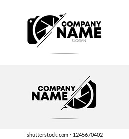 two different camera logo, symbol, icon, button design with black color and isolated on white and grey background color using for varities purpose such as business, company, studio, website, etc