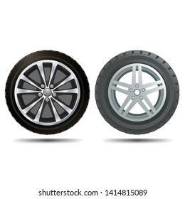 Two different car wheels on a white background