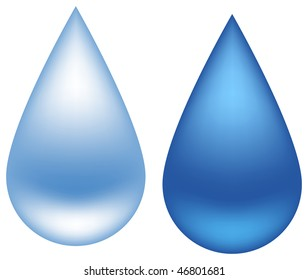 Two different drops of water, isolated on a white. Vector illustration