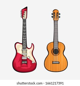 two different guitars front view