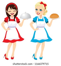 Two different happy brunette and blonde women 50's vintage dress housewife style holding tray and bread