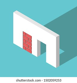 Two different isometric doorways, walled-up with red bricks and open. Abundance and scarcity mentality, choice, opportunity, problem. EPS 8 vector illustration, no transparency, no gradients
