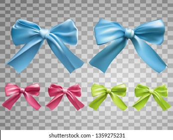 Two different realistic silk bowknots of blue, pink and green color variations, vector illustration with Gradient Mesh.
