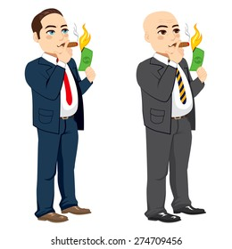 Two different rich businessman lighting cigar with dollar bill