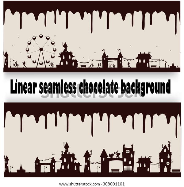 Two different seamless repeatable melted chocolate flow down patterns with fun cartoon images. Vector