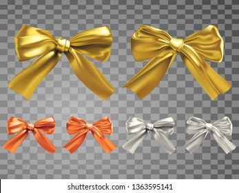 Two different silk bowknots of golden, copper and silver color variations,vector illustration in realistic style with Gradient Mesh.