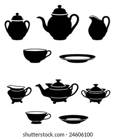 two different tea set black and white silhouettes