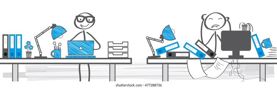 Two Different Ways To Work - vector illustration