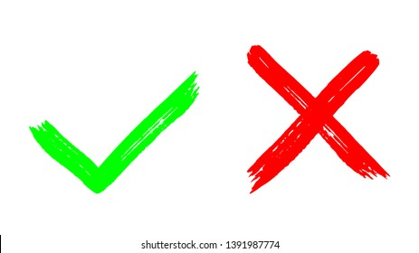 Two dirty grunge hand drawn with brush strokes cross x and tick OK check marks vector illustration isolated on white background. Check mark symbol NO and YES buttons for vote in check box, web, etc.